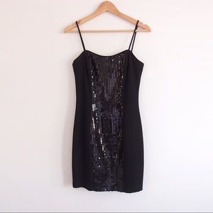VINTAGE Black Sequin Mini Dress Cocktail 90s